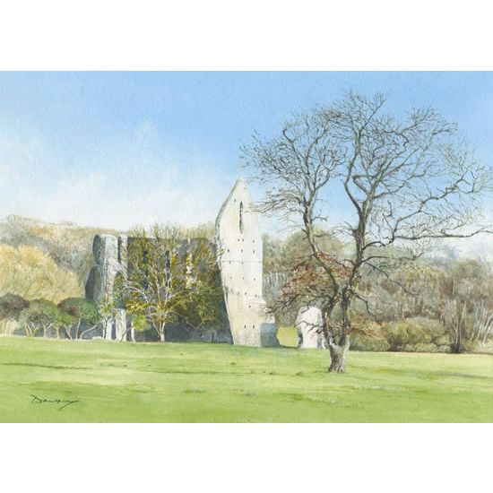 Newark Priory Ripley - Surrey Art Gallery - Watercolour Painting By Woking Artist David Drury - Fine Art Prints For Sale