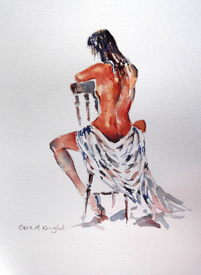 Nudes Art Gallery - Naked Woman Sitting - Prints Of Painting by Woking Surrey Artist Sera Knight