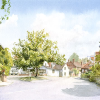 Shere Village Surrey England – Byfleet Art Society Watercolour Artist David Drury
