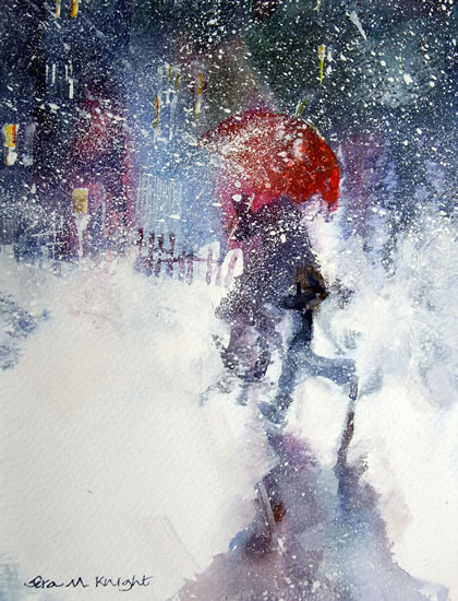 Snow Storm - Walking Under Red Umbrella In Winter Blizzard - Christmas Cards & Art Prints