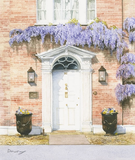 Wysteria Growing Over Cottage Door - Countryside Art Gallery - Fine Art Prints Of Painting
