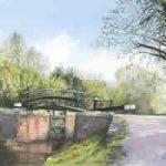 Lock & Foot Bridge On Basingstoke Canal At St Johns Lye – River Wey Navigation Art Gallery – Fine Art Prints Of Painting By Woking Surrey Artist David Drury