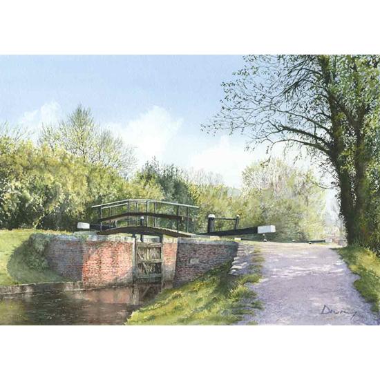 Lock & Foot Bridge On Basingstoke Canal At St Johns Lye - River Wey Navigation Art Gallery - Fine Art Prints Of Painting By Woking Surrey Artist David Drury