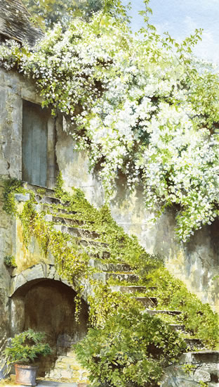 Cottage Steps - Countryside Art Gallery - Watercolour Painting of Retreat By Woking Artist David Drury - Fine Art Prints For Sale