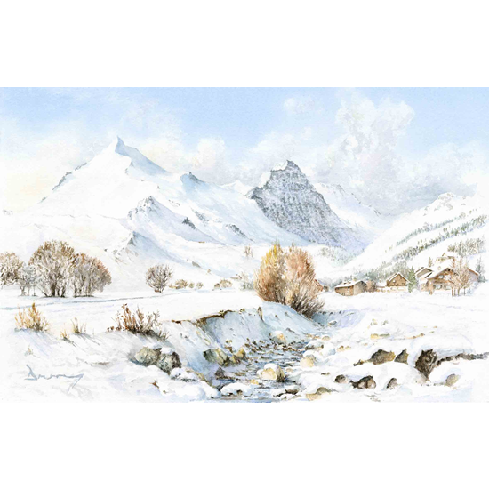 Mountains & Snow Art Galleries - Val d'Isère Alpine Shadows Painting