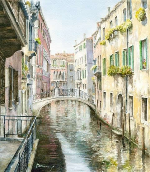 Venice Canal - Italy Art Gallery - Watercolour Painting By Woking Artist David Drury - Fine Art Prints For Sale