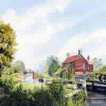 Walsham Gates Pyrford – Lock On Basingstoke Canal – Wey Navigation Art Gallery – Fine Art Prints Of Painting By Woking Surrey Artist David Drury
