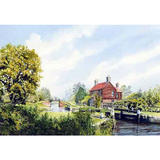 Walsham Gates Pyrford - Lock On Basingstoke Canal - Wey Navigation Art Gallery - Fine Art Prints Of Painting By Woking Surrey Artist David Drury