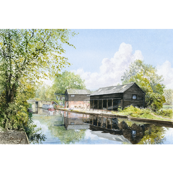 Wey Navigation Art Gallery - Byfleet - Parvis Wharf - Prints Of Watercolour Painting