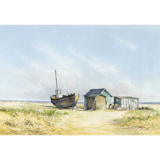 Beached Boat at Dungeness on Kent Coast - Seaside Gallery - Beach Watercolour Painting  - Fine Art Prints For Sale