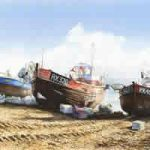 Fishing Boats On Beach – Seaside Art Gallery – Fine Art Prints Of Painting By Woking Surrey Artist David Drury