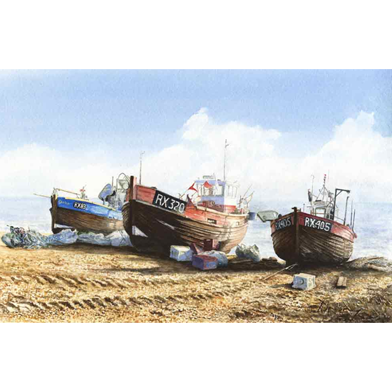 Fishing Boats On Beach - Seaside Art Gallery - Fine Art Prints Of Painting By Woking Surrey Artist David Drury