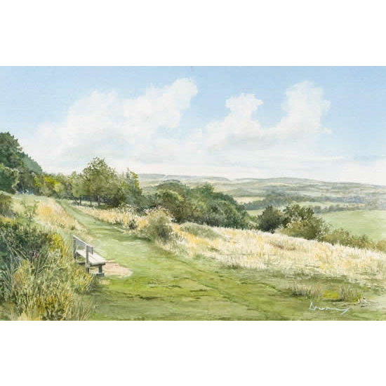 Newlands Corner Views -Albury Downs Guildford Beauty Spot - Surrey Art Gallery - Watercolour Painting By Woking Artist David Drury - Fine Art Prints For Sale