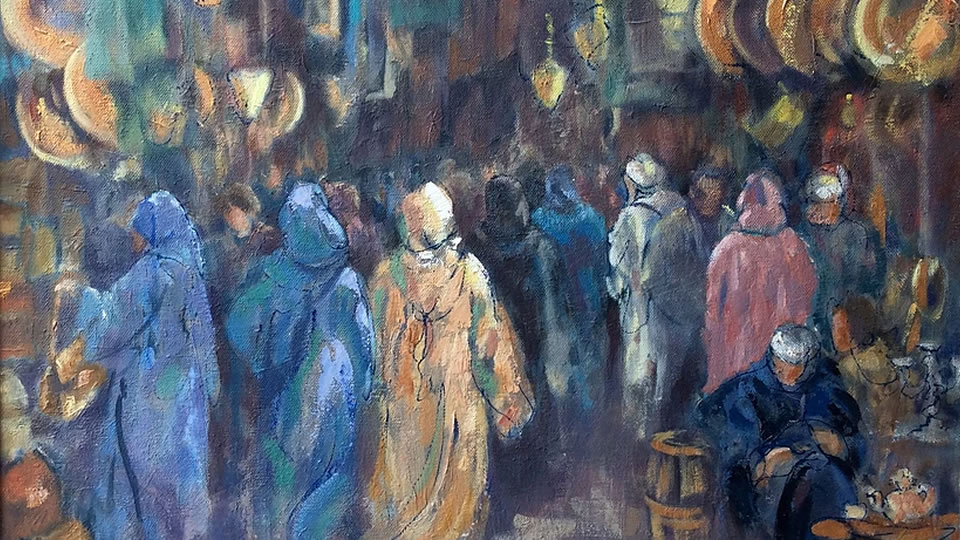 Art Exhibition at Barbers Gallery & Framing in Woking Surrey - Anne Marie Nijeboer Paintings of Souk (Market) November 2017