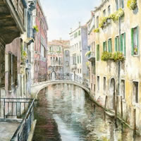 Venice Canal – Italy Art Gallery – Watercolour Painting By Woking Artist David Drury – Fine Art Prints For Sale