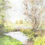 Wey At Pyrford – Foot Bridge On Basingstoke Canal – National Trust – Wey Navigation Art Gallery – Fine Art Prints Of Painting By Woking Surrey Artist