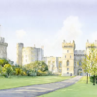 Windsor Castle – Royal Palace – English Heritage Art Gallery – Residence of Queen In Berkshire Close To London – Watercolour Painting By Woking Artist David Drury – Fine Art Prints For Sale
