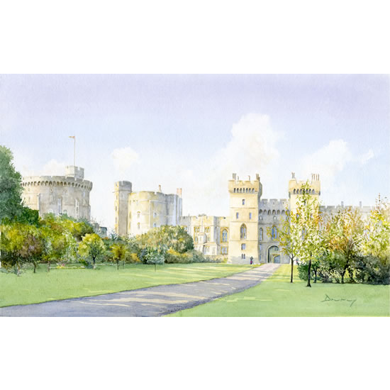 Windsor Castle - Royal Palace - English Heritage Art Gallery - Residence of Queen In Berkshire Close To London - Watercolour Painting By Woking Artist David Drury - Fine Art Prints For Sale