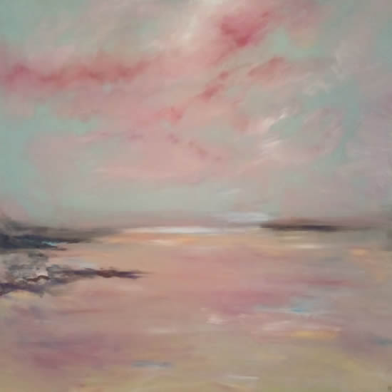Whitesands Beach Pembrokeshire - Dramatic Skies Art Gallery - Painting by Cranleigh Surrey Artist Kathy Plank