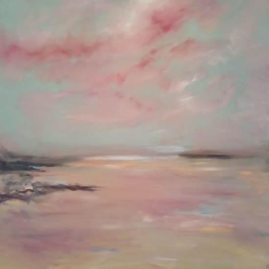 Whitesands Beach Pembrokeshire - Dramatic Skies Art Gallery - Painting by Cranleigh Surrey Artist Kathy Plank