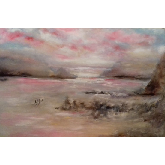 Dramatic Skies Art Gallery - Wales Beach Scene - Oil Painting by Cranleigh Surrey Artist Kathy Plank