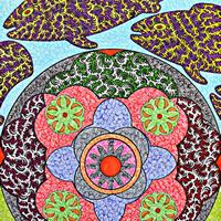 Fish Pattern Drawing by Folk Singer and Artist Martyn Wyndham Read