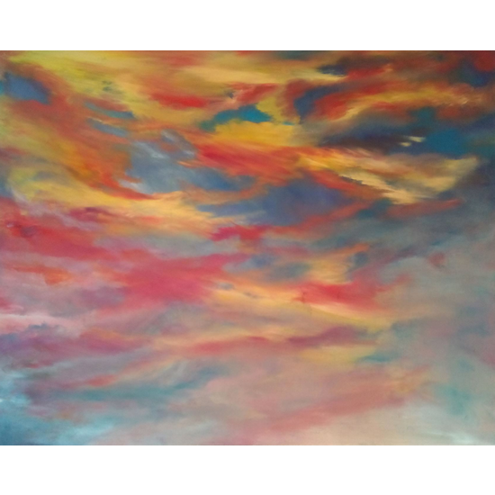 Sunrise Painting - Dramatic Red Sky - Skies Art Gallery of Cranleigh Surrey Artist Kathy Plank