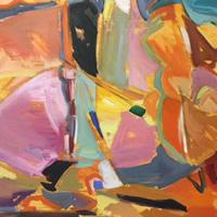 Abstract Landscape Oil Painting by Weybridge Art Society Member – Artist Hildegarde Reid