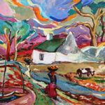 African Village Scene – Oil Painting by Surrey Artist and Art Tutor Hildegarde Reid