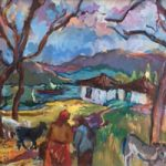 African Village With Animals – Oil Painting by Molesey Surrey Artist Hildegarde Reid