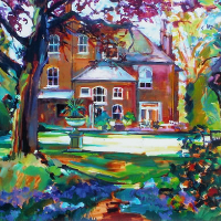 Bluebell Time – House in the Woods by Molesey Artist and Art Tutor Hildegarde Reid