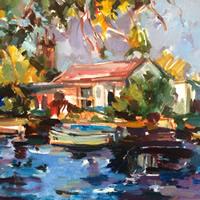 Boathouse Acrylic Painting by Molesey Art Society Member – Surrey Artist Hildegarde Reid