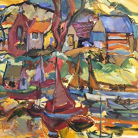 Boats in Harbour Scene – Acrylic Painting by Weybridge Art Society Member – Surrey Artist Hildegarde Reid