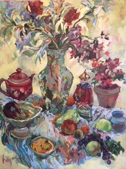Chinese Vase and Figure - Oil Painting by Weybridge Art Society Member - Molesey Surrey Artist Hildegarde Reid