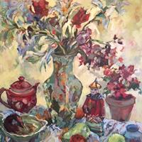 Chinese Vase and Figure – Oil Painting by Weybridge Art Society Member – Molesey Surrey Artist Hildegarde Reid