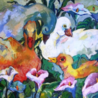 Ducks and Lilies by The Water's Edge – Weybridge Art Society Artist Hildegarde Reid