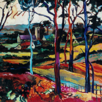 Fauve-Inspired Landscape – Church through the Trees – Surrey Artist Hildegarde Reid