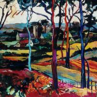 Fauve-Inspired Landscape – Church through the Trees – Surrey Artist Hildegarde Reid