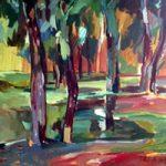 Fauve Landscape – Oil Painting on Canvas by Chelsea Art Society Member – Molesey Surrey Artist Hildegarde Reid
