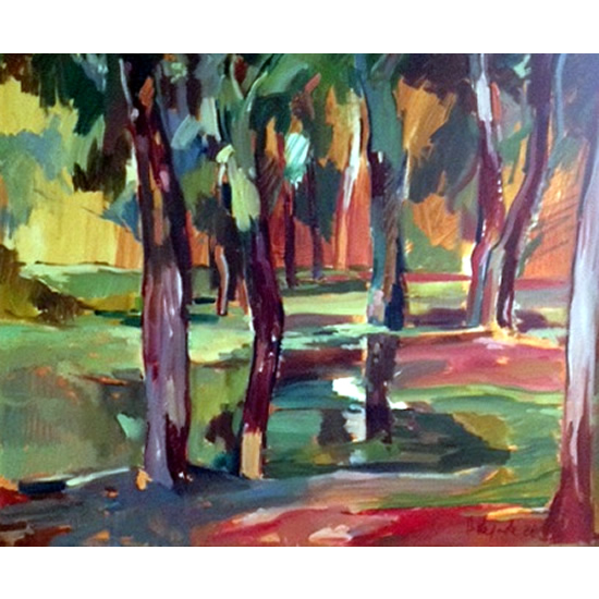 Fauve Landscape - Oil Painting on Canvas by Chelsea Art Society Member - Molesey Surrey Artist Hildegarde Reid