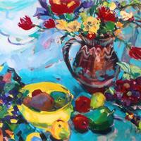 Flowers and Fruit – Painting by Weybridge Art Society Member – Molesey Surrey Artist Hildegarde Reid