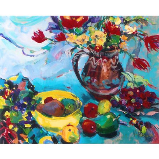 Flowers and Fruit - Painting by Weybridge Art Society Member - Molesey Surrey Artist Hildegarde Reid