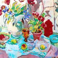 Flowers and Pottery – Painting by Weybridge Art Society Member – Molesey Surrey Artist Hildegarde Reid