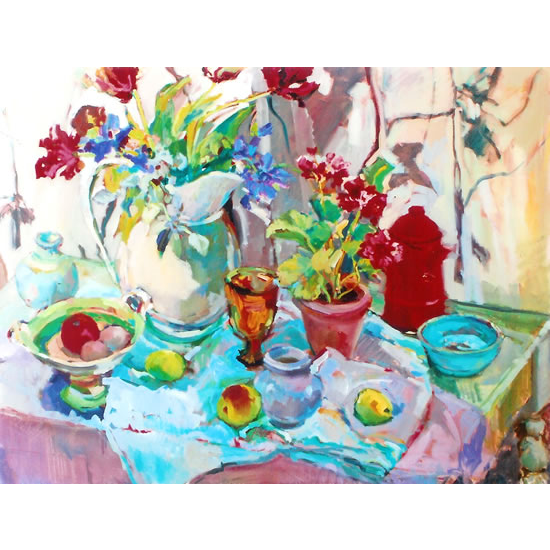 Flowers and Pottery - Painting by Weybridge Art Society Member - Molesey Surrey Artist Hildegarde Reid