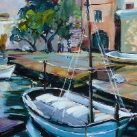 Spanish Harbour Scene – Hildegarde Reid – Painting in Oils