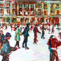 Ice Skating Fun – Painting by Thames Art Society Member – Molesey Elmbridge Surrey Artist Hildegarde Reid