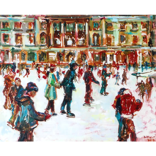 Ice Skating Fun - Painting by Thames Art Society Member - Molesey Elmbridge Surrey Artist Hildegarde Reid