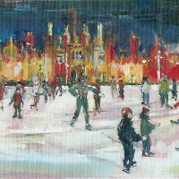 Ice Skating at Hampton Court Palace. England – Hildegarde Reid