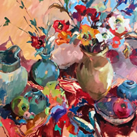 Jugs & Flowers Still Life – Oil Painting on Canvas by Chelsea Art Society Member – Molesey Surrey Artist Hildegarde Reid