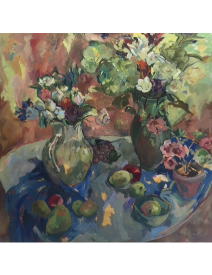 Large Still Life Oil on Canvas Painting by Thames Valley Art Society Member - Molesey Surrey Artist Hildegarde Reid